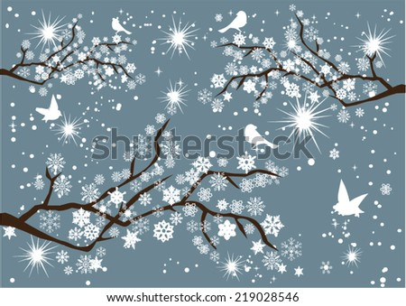 vector tree branches with snowflakes, birds - stock vector
