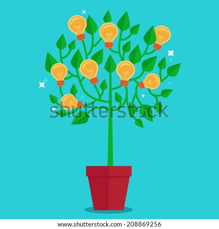 Vector tree concept in flat style - green plant with light bulbs on the branches - idea concept