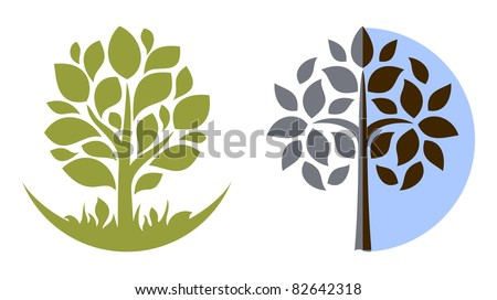 Vector tree emblem 3 - stock vector