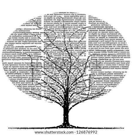 Vector tree formed by lines of text and newspaper columns. Text unreadable. - stock vector
