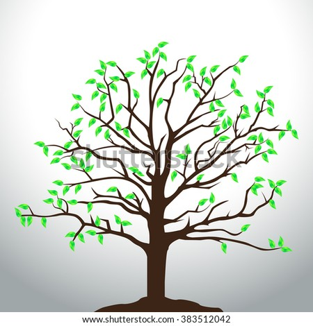 Vector tree illustration with green leaves. - stock vector