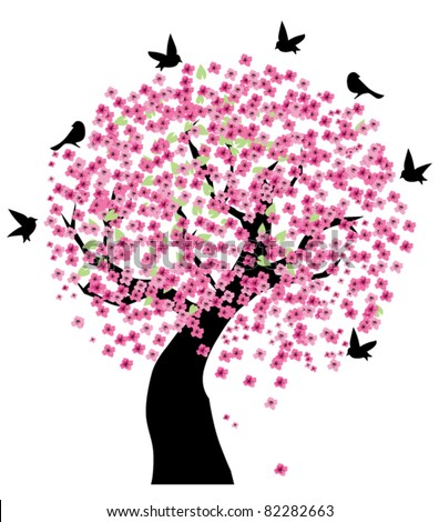 vector tree in blossom with black birds - stock vector