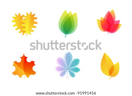 Vector tree leaves icons - oak, maple - stock vector