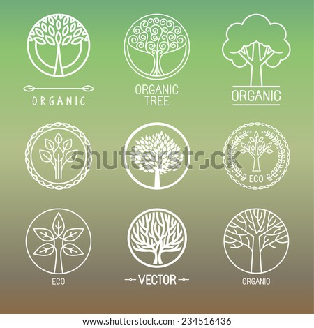 Vector tree logo - set of abstract organic design element - eco and bio circle badge  - stock vector