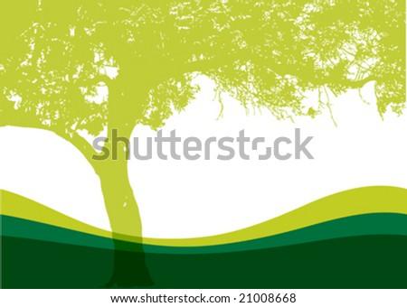 Vector tree on a grassy hill - stock vector