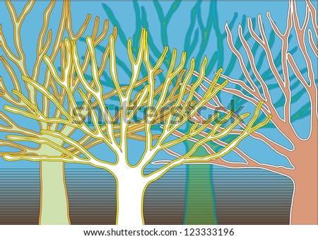 Vector Tree Silhouettes with Colorful Outlines Isolated on Gradient Background - stock vector