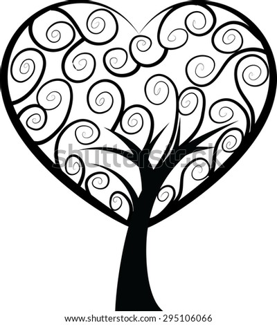 vector tree with heart shape