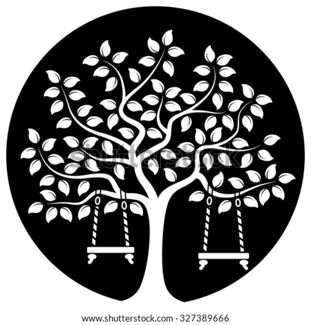 vector tree with swings isolated on black round - stock vector
