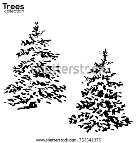 Vector Trees collection. Ink sketched winter Fir with snow silhouettes
