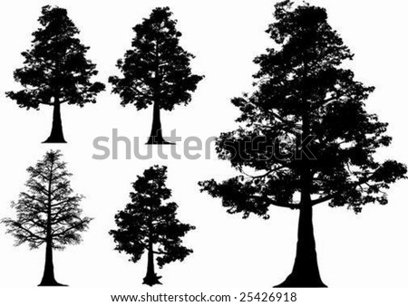 vector trees (oak) + fall tree - stock vector