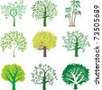 vector trees. set. - stock vector