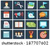 vector trendy colored office flat icons in flat style - stock vector