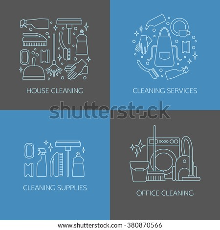 Vector trendy line cleaning icon set, emblems, logos. Vacuum cleaner, protective gloves, plunger, spray bottle,  wipe, squeegee, sponge, bucket, mop, brush, duster and many more. - stock vector
