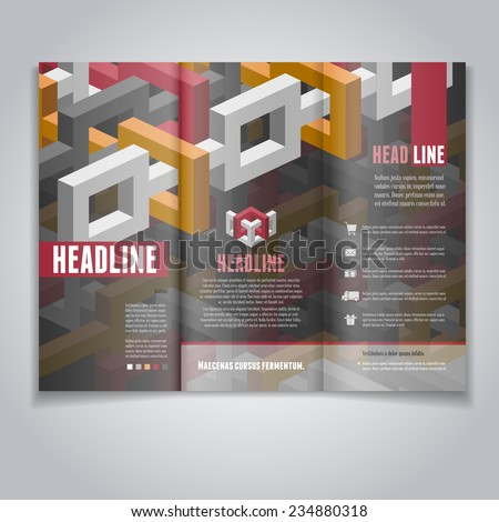 Vector Trifold Brochure Flyer Layout Template Stock Vector - 3d brochure template