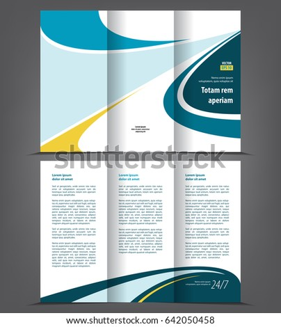 Vector Tri Fold Brochure Template Design Stock Vector - 3 folded brochure template