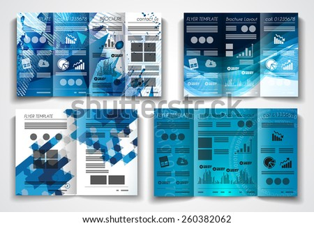 Vector tri fold brochure template design or flyer layout to use for business applications, magazines, advertising, product sheets, item notes, event flyers or meeting invitations. - stock vector