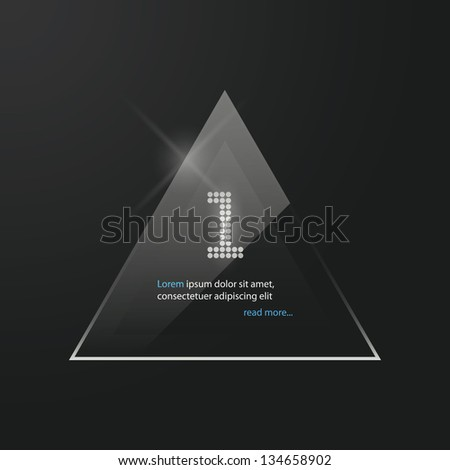 Vector triangle glossy panel, icon, banner. - stock vector