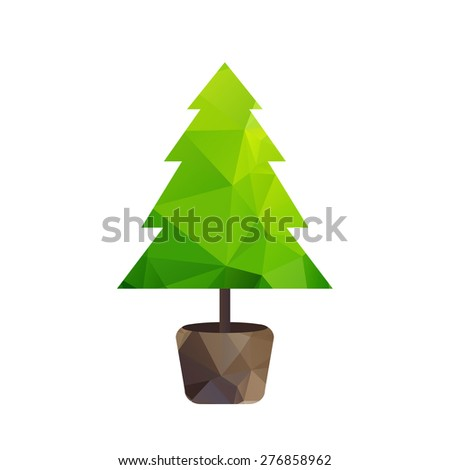 Vector triangle green tree (fir) in pot. Happy new year. - stock vector