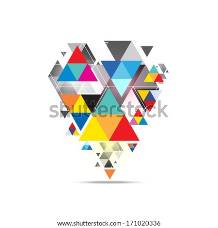 vector triangle pattern background design - stock vector