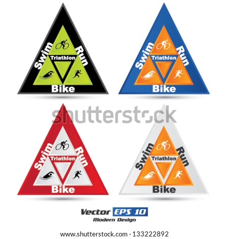 Vector triangle triathlon symbol set - stock vector