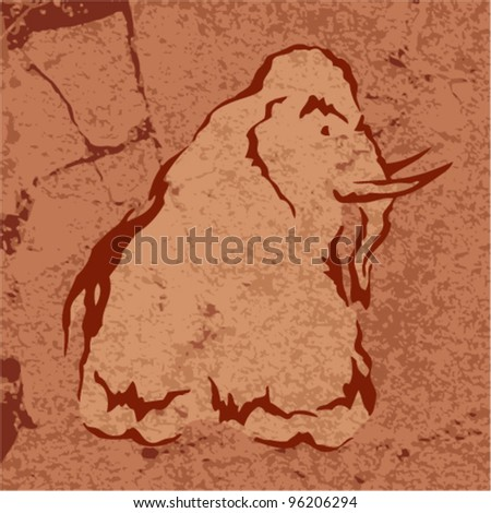 Vector tribal art - illustration of a mammoth on a rock - stock vector