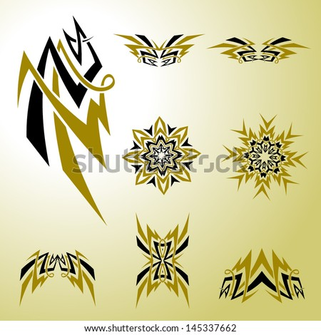 Vector Tribal Celtic Tattoo Graphics Set - Graphic elements to embellish your layout. Vector file editable, scalable and easy color change. You can use the background or isolated elements. - stock vector