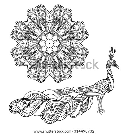Vector Tribal Decorative Peacock And Mandala. Isolated Objects On Transparent Background. Zentangle Style