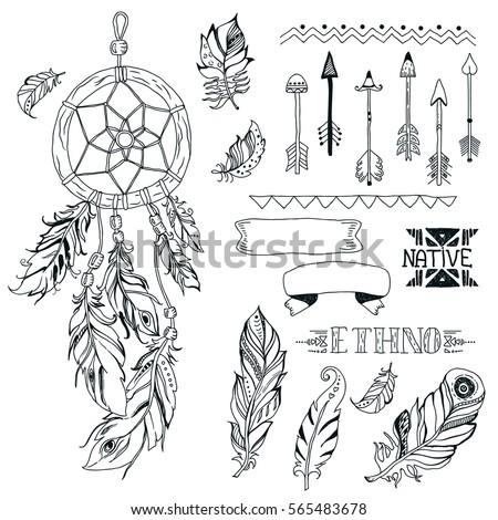 Vector Tribal Design Elements Aztec Symbols Stock Vector 565483678
