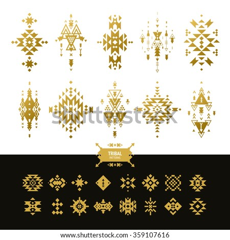 Vector Tribal elements gold colors with hipster logo, aztec patterns and ethnic symbols isolated on white background - stock vector