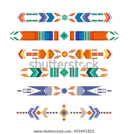 vector tribal elements. temporary tattoos. ethnic symbols. folk color patterns. aztec style