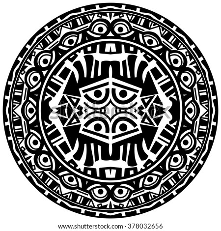 Vector tribal ornamental circle reminiscent of the Aztec calendar with eyes - stock vector