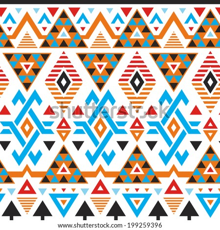 Vector tribal striped seamless pattern. Geometric background with colored triangles - stock vector