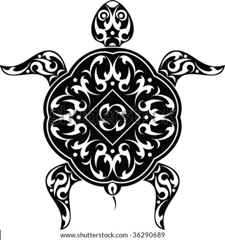 Vector Tribal tattoo Turtle - stock vector