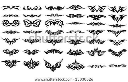 Vector tribal tattoos - stock vector