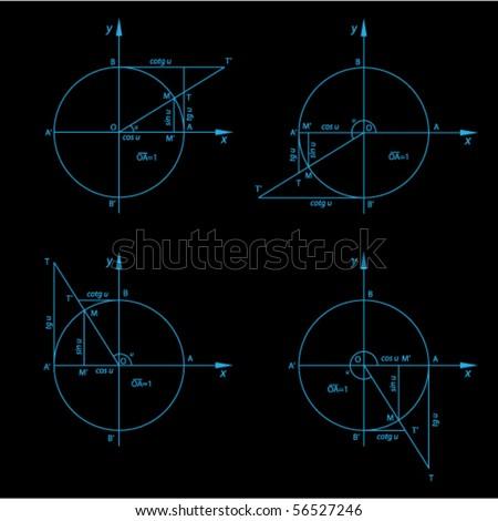 Vector trigonometry figures - stock vector