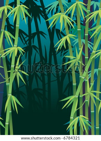 Vector, tropical bamboo forest - stock vector