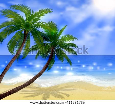Vector tropical beach  - stock vector