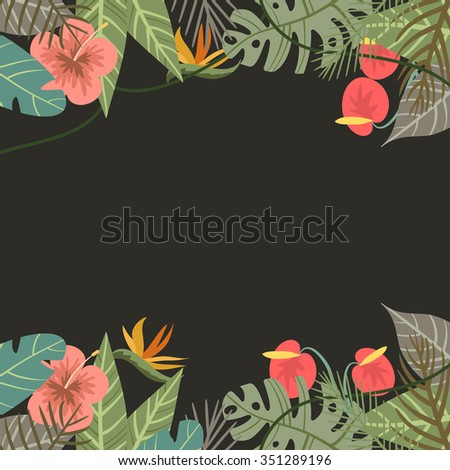 Vector tropical border frame with flower and palm leaves monkey on dark background - stock vector