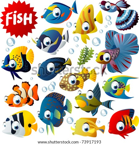 vector tropical fish set - stock vector