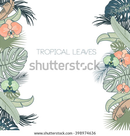Vector tropical foliage and flowers frame, green and turquoise colors - stock vector