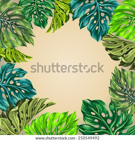Vector tropical frame. Detailed classic palm leaves illustration, with a place for text. Aloha style poster - stock vector