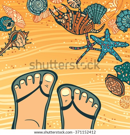 Vector tropical illustration with cartoon foot in flip-flops and colored seashells and starfishes on a yellow beaches. - stock vector