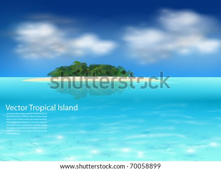 Vector tropical island background, realistic illustration. - stock vector