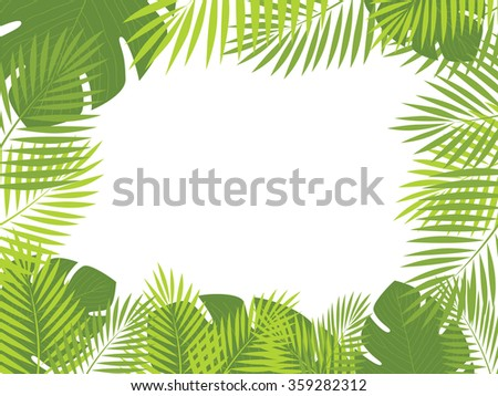 Vector tropical jungle background with trees and leaves. - stock vector