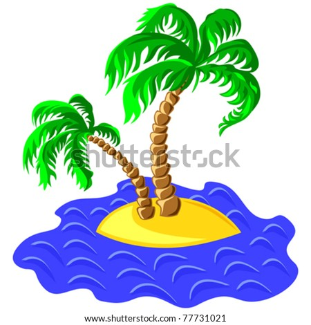 vector tropical landscape of the island in the ocean and two palm trees