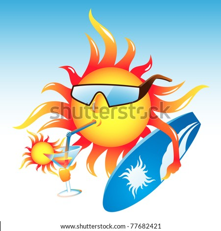 Vector tropical sun sipping cocktail and getting ready to surf - stock vector