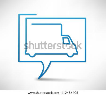 Vector truck icon. Concept speech bubbles - stock vector