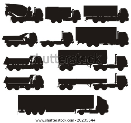 Vector truck silhouettes set. More vector transport see in my portfolio. - stock vector