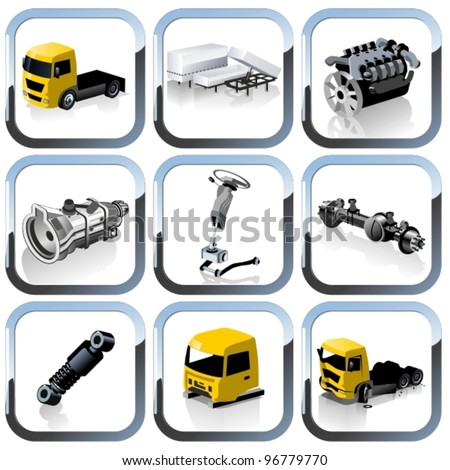 Vector truck spares icons set - stock vector