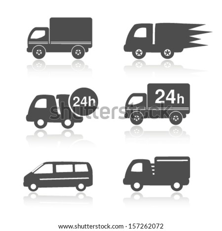 Vector truck symbols with shadow, delivery within 24 hours, car icons - stock vector